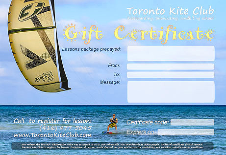 Kiteboarding lessons or snowkiting lesoons gift certificate look.