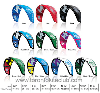 Bandit 7 kite colors sizes and wind range